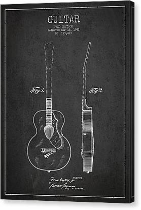 Gretsch Guitar Patent Drawing From 1941 - Dark Canvas Print by Aged Pixel