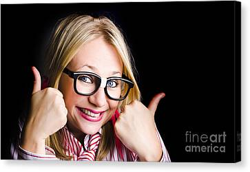 Grinning Geek With Thumbs Up To Cheeky Business Canvas Print by Jorgo Photography - Wall Art Gallery