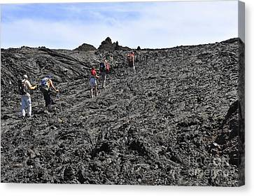 Group Of Hickers Walking On Cooled Lava Canvas Print by Sami Sarkis