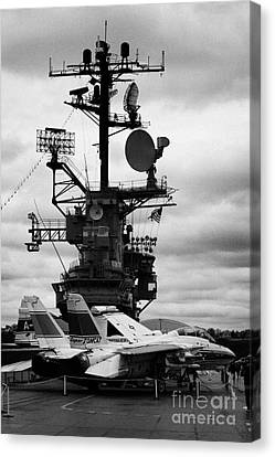 Grumman F14 In Front Of The Bridge On The Flight Deck Of The Uss Intrepid  Canvas Print by Joe Fox