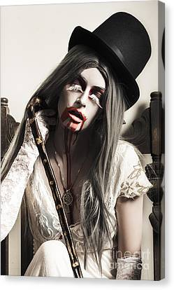 Grunge Ghost Girl With Blood Mouth. Dark Fine Art Canvas Print by Jorgo Photography - Wall Art Gallery