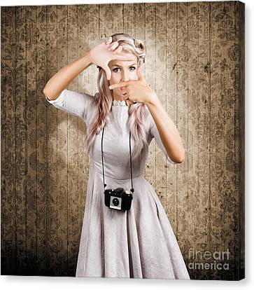 Grunge Girl With Retro Film Camera Concept Framing Canvas Print by Jorgo Photography - Wall Art Gallery
