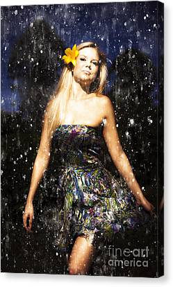 Grunge Portrait Of Sexy Woman In Rain Canvas Print