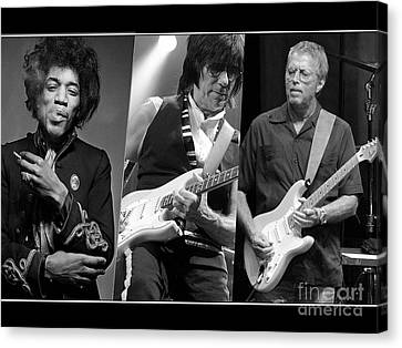 Guitar Legends Jimi Hendrix Jeff Beck And Eric Clapton Canvas Print by Marvin Blaine