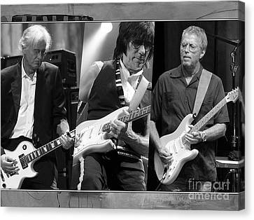 Jimmy Canvas Print - Guitar Legends Jimmy Page Jeff Beck And Eric Clapton by Marvin Blaine