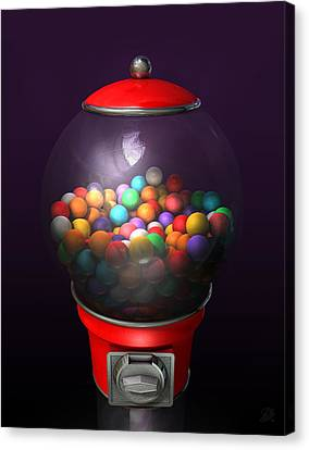 Gumball Dispensing Machine Dark Canvas Print by Allan Swart