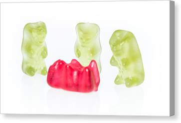 Gummi Bears Isolated On White Canvas Print by Handmade Pictures