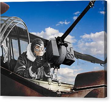 Gunner Controls Skies Canvas Print by Retro Images Archive