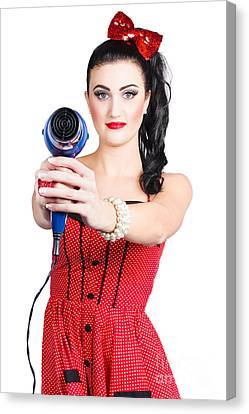 Hairdresser Woman Shooting A Cool Haircut In Style Canvas Print by Jorgo Photography - Wall Art Gallery