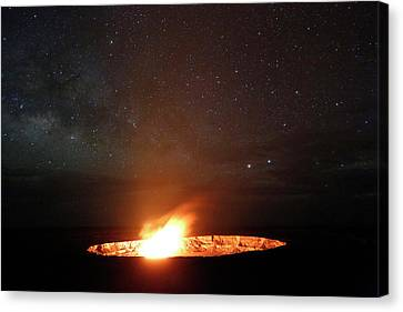Halemaumau Volcanism At Night Canvas Print by Michael Szoenyi