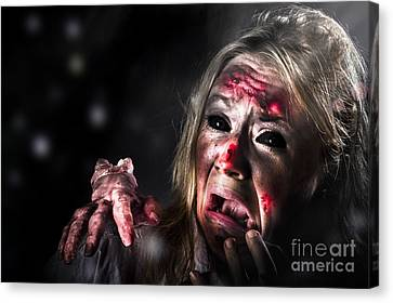 Halloween Horror. Zombie In Fear From Evil Thing Canvas Print
