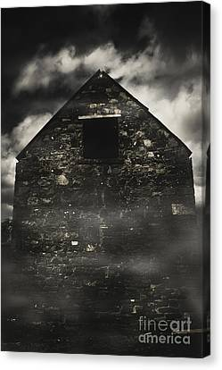 Halloween House Of Horrors. Scary Stone Building Canvas Print by Jorgo Photography - Wall Art Gallery