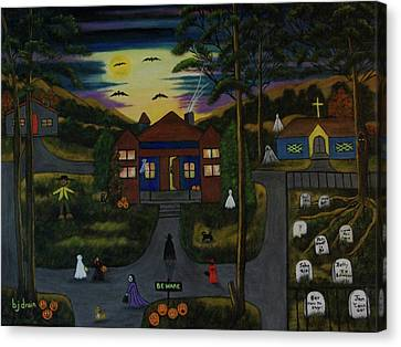 Dog At Door Canvas Print - Halloween Night by Brenda  Drain
