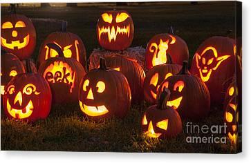 Glowing Canvas Print - Halloween Pumpkins by Juli Scalzi