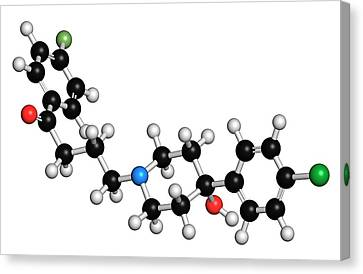 Psychiatric Canvas Print - Haloperidol Antipsychotic Drug Molecule by Molekuul