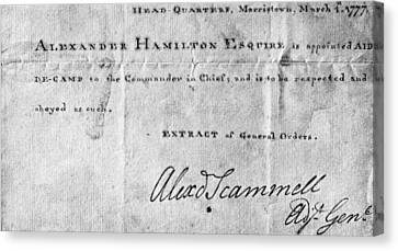 Hamilton: Appointment, 1777 Canvas Print by Granger