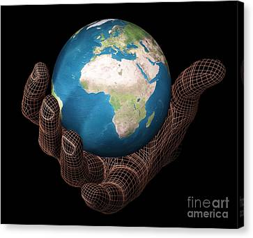 Hand Holding The Earth Canvas Print by Scott Camazine