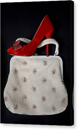 Handbag With Stiletto Canvas Print by Joana Kruse