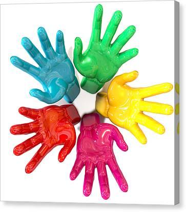 Diversity Canvas Print - Hands Colorful Circle Reaching Skyward by Allan Swart