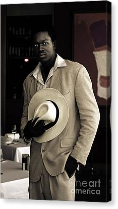 Handsome African On Evening Date Canvas Print