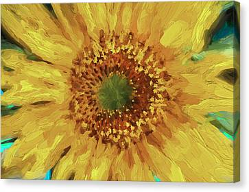 Digital Sunflower Canvas Print - Hannahs Sunflower  by Rich Franco