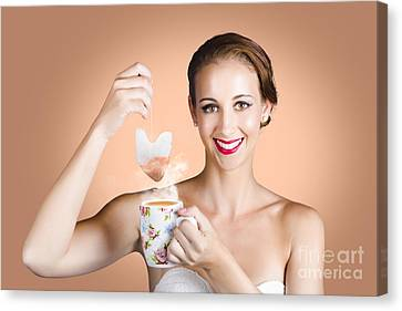 Happy Beautiful Pin Up Girl Drinking Tea Or Coffee Canvas Print