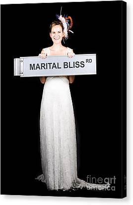Happy Bride On The Road To Marital Bliss Canvas Print by Jorgo Photography - Wall Art Gallery