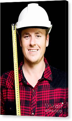 Happy Builder With A Tape Measure Canvas Print by Jorgo Photography - Wall Art Gallery