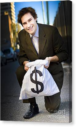 Good Fortune Canvas Print - Happy Business Man Smiling With Money Bag by Jorgo Photography - Wall Art Gallery