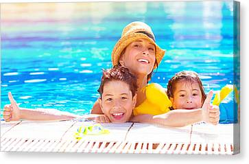 Happy Family In The Pool Canvas Print by Anna Om