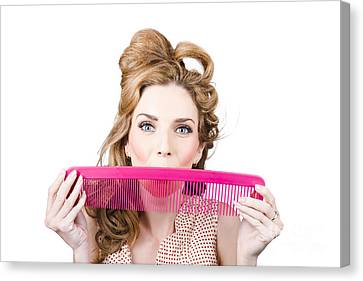 Hairstyle Canvas Print - Happy Hairstyle Pinup Woman Smiling With Hair Comb by Jorgo Photography - Wall Art Gallery