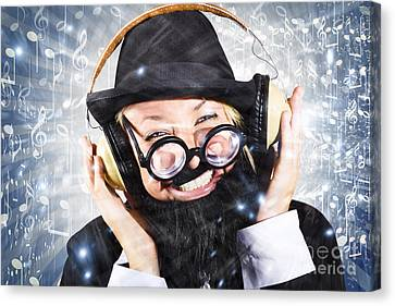 Enjoyment Canvas Print - Happy Nightclub Man Dancing At Silent Disco Party by Jorgo Photography - Wall Art Gallery