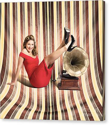 Happy Pin Up Lady. Retro Music And Entertainment Canvas Print