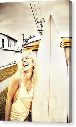Happy Retro Surfer Canvas Print