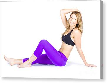 Happy Smiling Woman Exercising On White Background Canvas Print by Jorgo Photography - Wall Art Gallery
