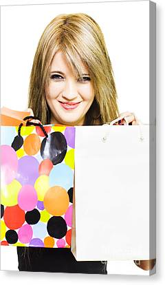 Happy Smiling Woman Holding Shopping Bags Canvas Print by Jorgo Photography - Wall Art Gallery