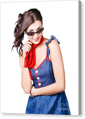 Happy Smiling Young Pinup Girl In Rockabilly Style Canvas Print by Jorgo Photography - Wall Art Gallery
