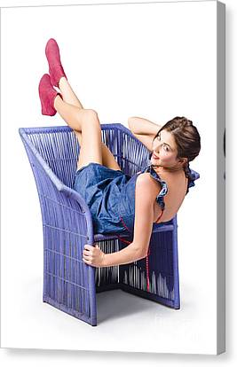 Sexy Brunette Women Canvas Print - Happy Woman In Denim Dress Kicking Back On Chair by Jorgo Photography - Wall Art Gallery