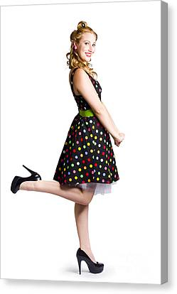 Happy Woman In Retro Dress Canvas Print by Jorgo Photography - Wall Art Gallery