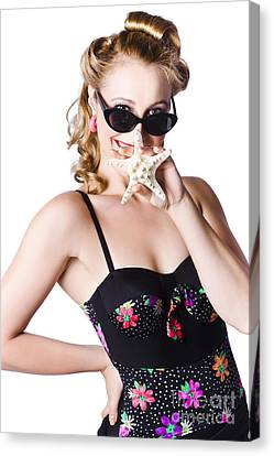 Youthful Canvas Print - Happy Woman In Swimming Costume by Jorgo Photography - Wall Art Gallery