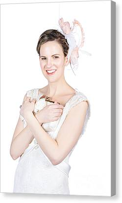 Youthful Canvas Print - Happy Young Bride Holding Purse by Jorgo Photography - Wall Art Gallery