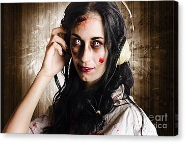 Hard Rock Zombie Listening To Death Metal Music Canvas Print