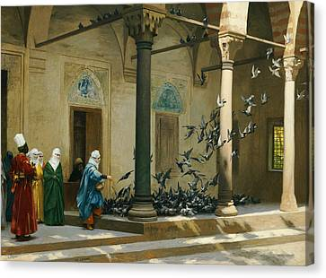 Harem Women Feeding Pigeons In A Courtyard Canvas Print by Jean Leon Gerome