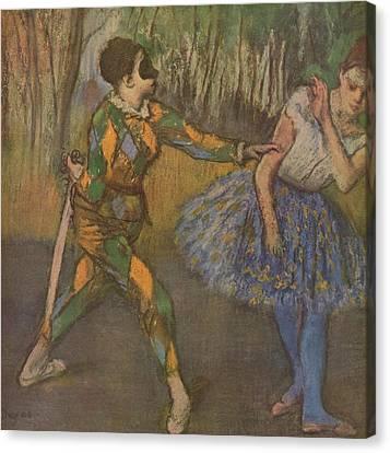 Harlekin Und Colombine Canvas Print by Edgar Degas