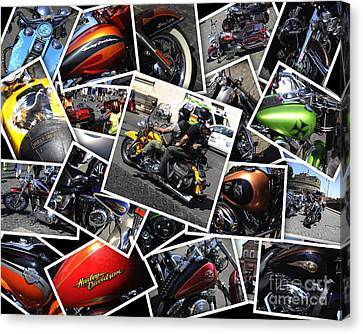 Two Wheeler Canvas Print - Harley Davidson Anniversary In Rome by Stefano Senise