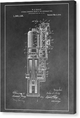 Combustion Canvas Print - Harley Davidson Engine Patent by Dan Sproul