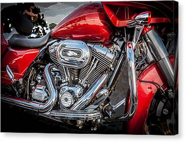 Harley Davidson Motorcycle Harley Bike Bw  Canvas Print by Rich Franco