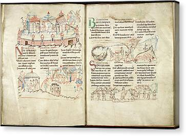 Harley Psalter With Pen Drawings Canvas Print by British Library