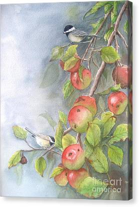 Harvest Chickadees Canvas Print by Patricia Pushaw
