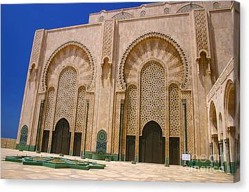 Canvas Print featuring the photograph Hassan II Mosque Grand Mosque Sour Jdid Casablanca Morocco by Ralph A  Ledergerber-Photography